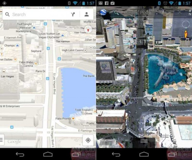 Links: Google Maps, Rechts: Google Earth