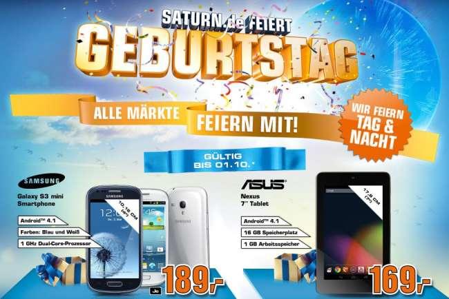 Xperia T, Nexus 7 und Galaxy S3 mini bei Saturn zum Schnäppchenpreis!