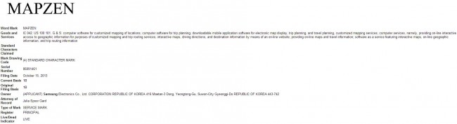 Samsung MapZen Patentantrag