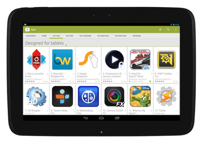 Google Play Store Optimiert für Tablets