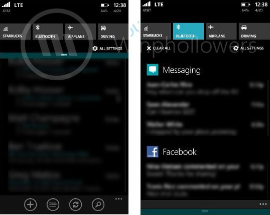 Windows Phone 8.1 Blue Action Center