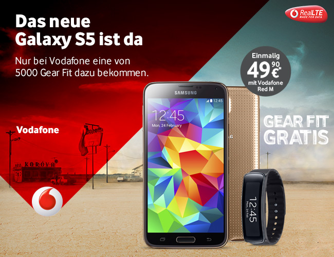 Samsung Galaxy S5 in Gold bei Vodafone