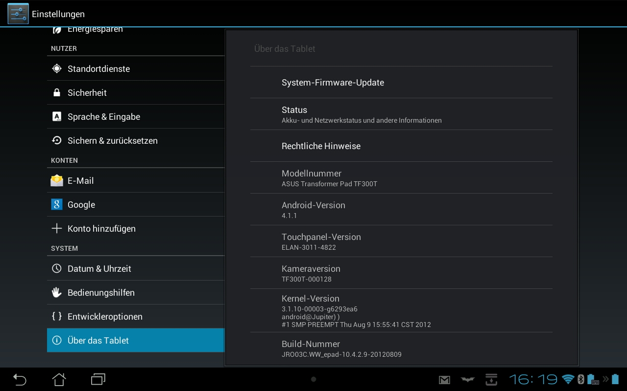 ASUS TF300T Jelly Bean update