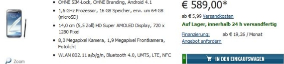 Cyberport Galaxy Note 2