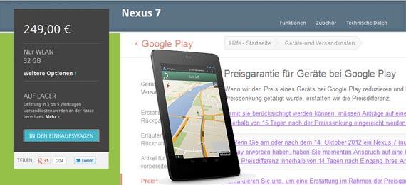 Google Nexus 7 Preisgarantie