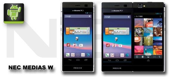 """NEC MEDIAS W: Dual-Display-Smartphone mit """"Buch-Modus"""" für Japan"""