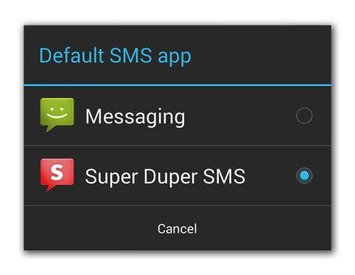 Android 4.4 KitKat SMS Default-App Auswahl