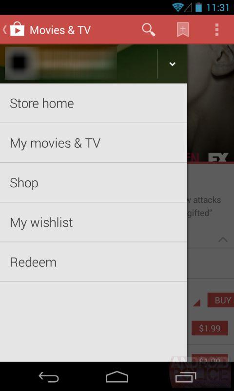 Google Play Store 4.4 Hamburger Menü