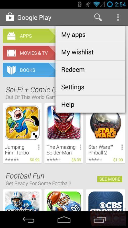 Google Play Store 4.3 Altes Menü