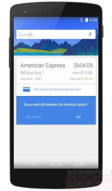 Google Now Karte für Rechnungen