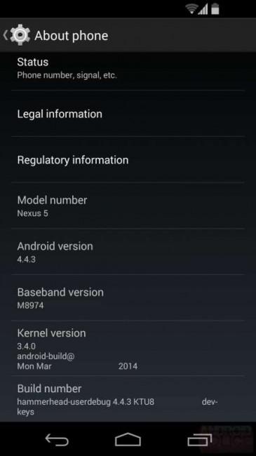 Nexus 5 mit Android 4.4.3 KitKat