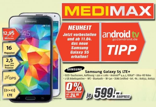 Samsung Galaxy S5 MEDIMAX Angebot