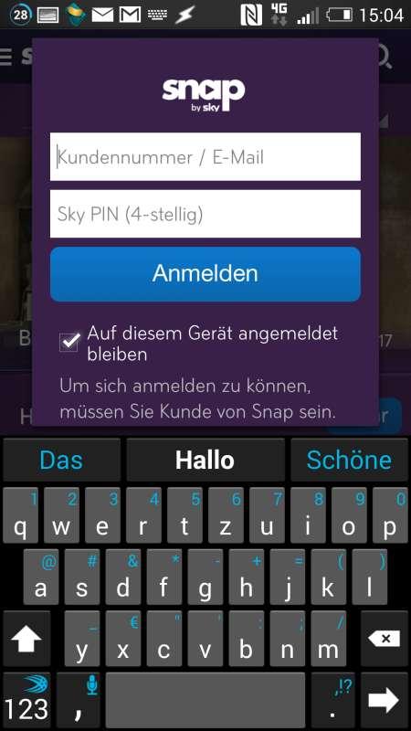 Sky Snap auf einem HTC One