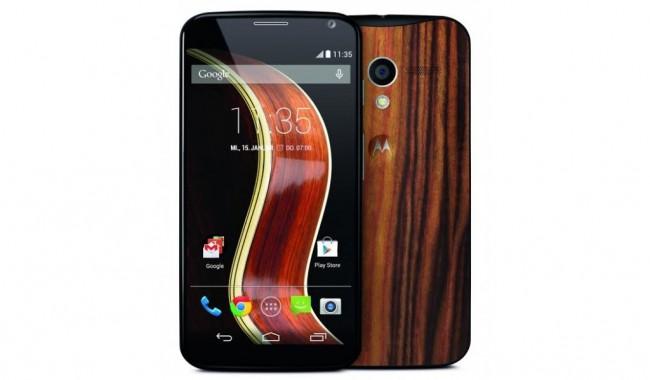 Motorola Moto X mit Walnuss-Rückseite