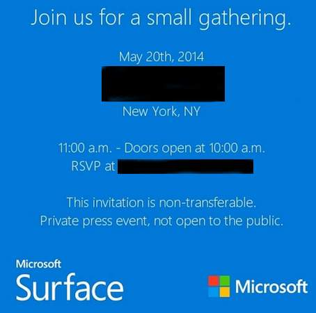 Microsoft Surface Mini Einladung