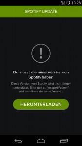 Spotify Upgrade-Hinweis