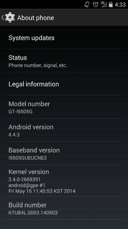 Android 4.4.3 KitKat OTA Update