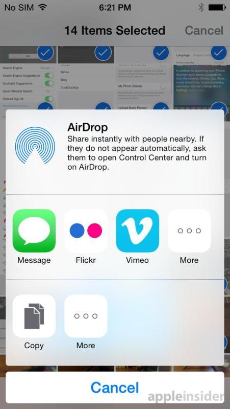 iOS 8 Teilen-Menü