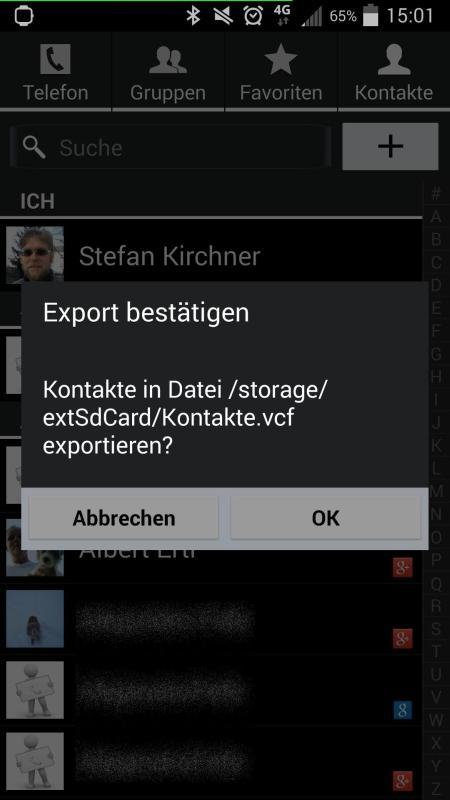 Kontakte exportieren