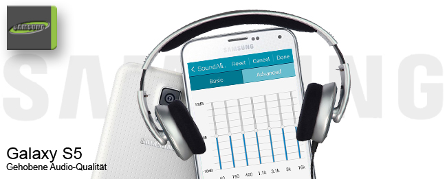 Samsung Galaxy S5 mit SoundAlive und Adapt Sound