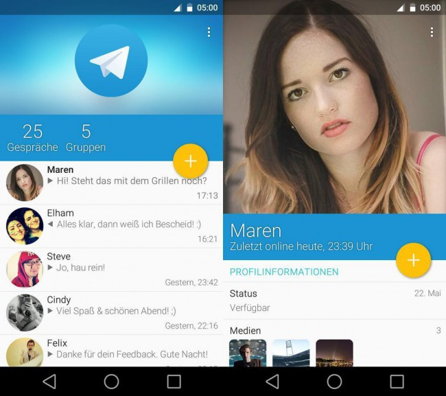 Telegram im Material Design