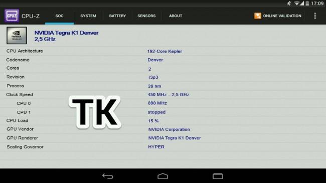 CPU-Z vom Nexus 9
