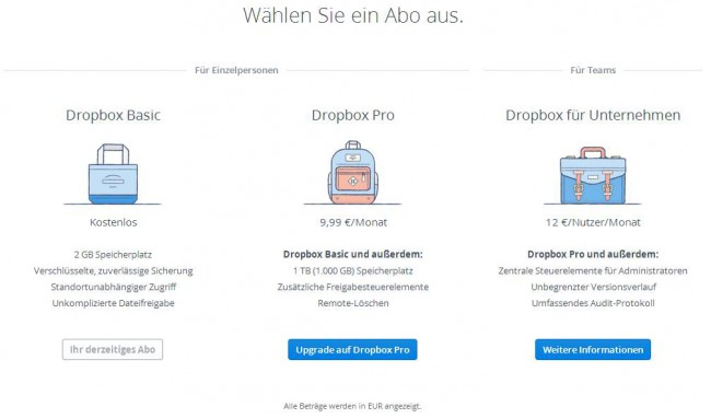 Dropbox Speicher-Optionen