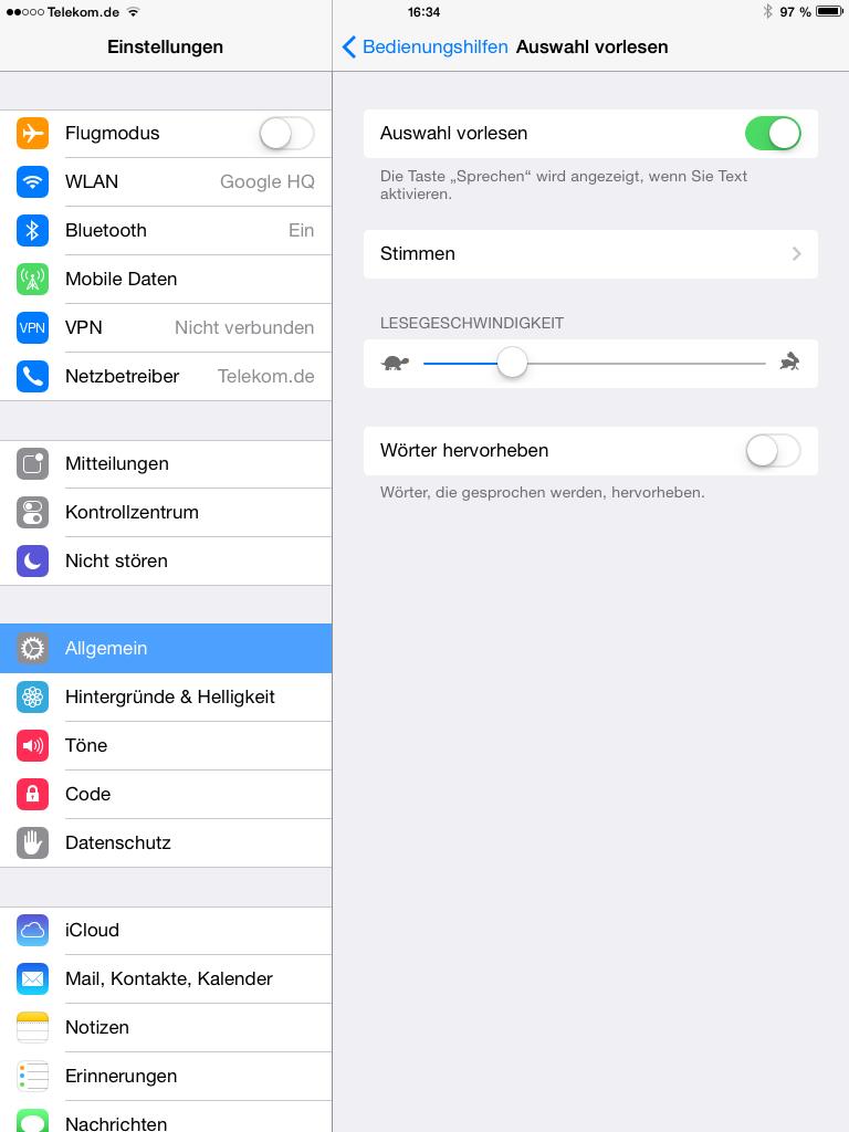 Siri Vorlese-Funktion