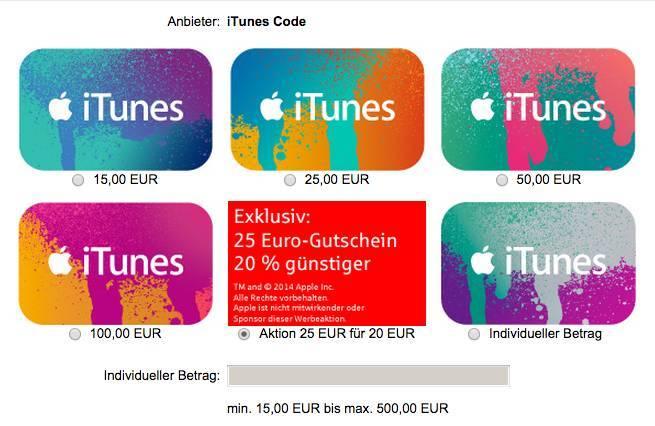 iTunes Geschenkkarte bei der Sparkasse
