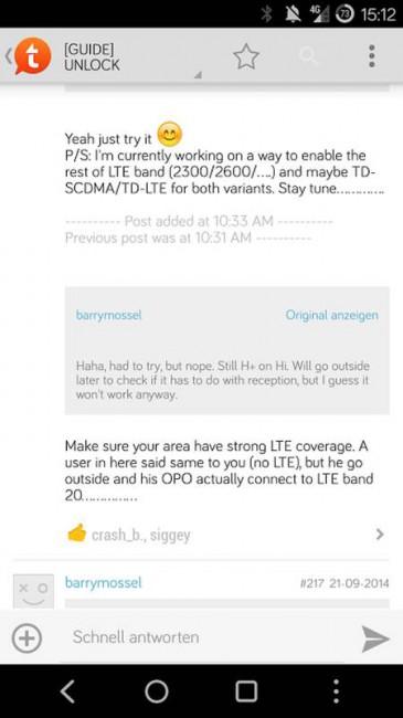 OnePlus One und LTE Band 20