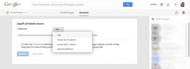 Google+ Inhaltsbeschränkungen