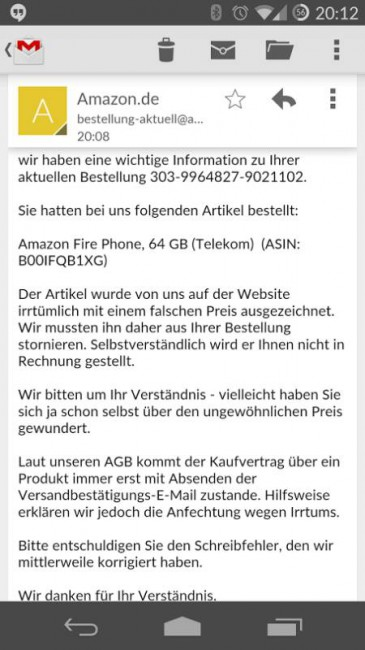 Amazon Fire Phone Stornierung