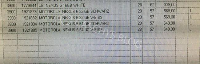 Nexus 6 inoffizielle Preisliste