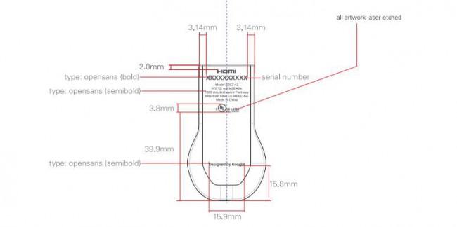 Chromecast Technische Zeichnung