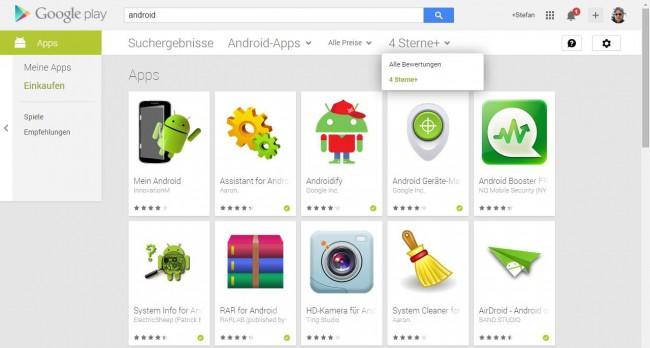 Google Play Store Ergebnis-Filter