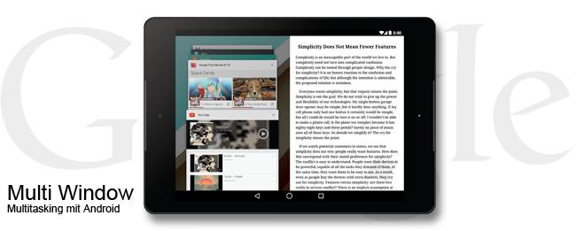 Multi Window für Android nach Android 5.1 Lollipop