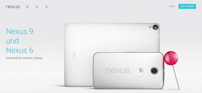 Google Nexus 6, Nexus 9 und Android 5.0 Lollipop