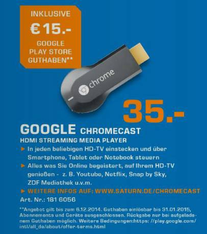Chromecast Schnäppchen-Aktion