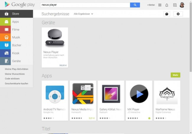 Google Nexus PLayer im deutschen Google Play Store