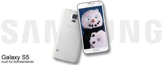 Samsung Galaxy S5 im Schneemann