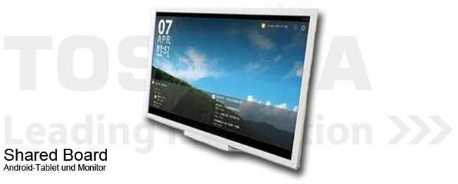 toshiba shared board 24 zoll android tablet und monitor in einem. Black Bedroom Furniture Sets. Home Design Ideas