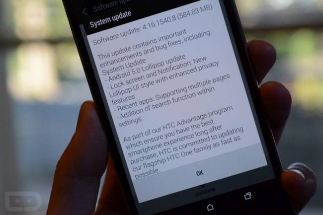 HTC One M8 mit Lollipop