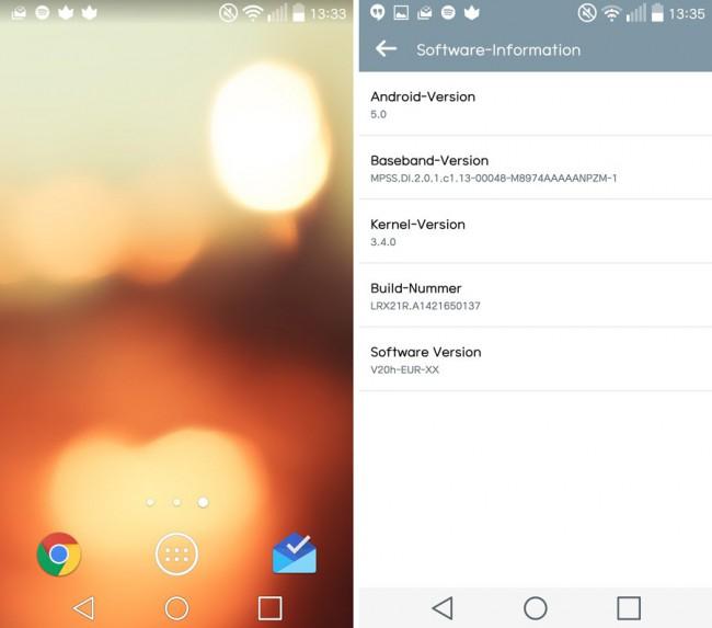 LG G3 mit Lollipop-Update V20h