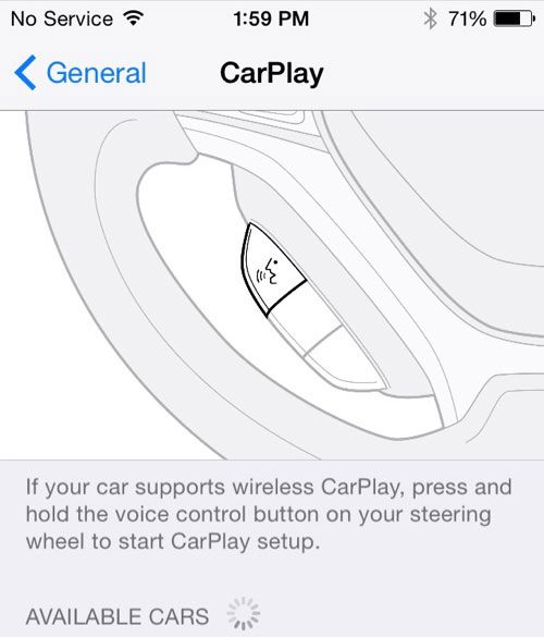 Drahtloses CarPlay mit iOS 8.3