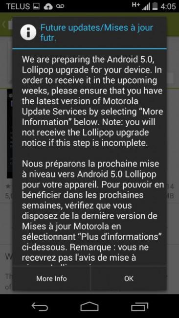 Motoroal Moto G Update-Vorbereitung