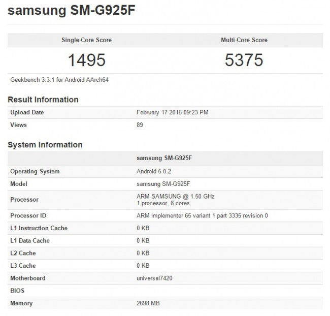 Samsung Galaxy S6 Edge Benchmark