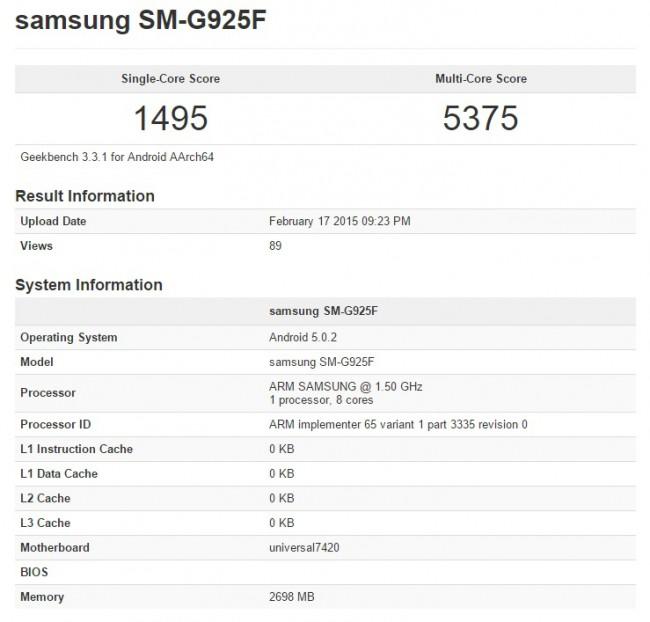 Samsung Galaxy S6 Edge Benchmark