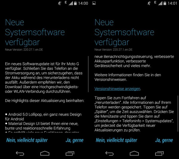 Motorola Moto G mit Android L