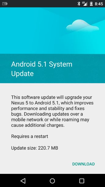 Nexus 5 mit Android 5.1 Lollipop