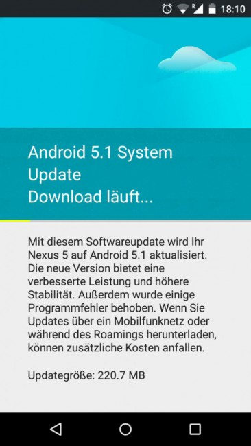 Nexus 5 OTA mit Android 5.1 Lollipop